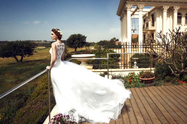 Bride overlooking golf course